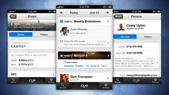 Cue Turns Your Email, Contacts, and Calendars into a Smart Timeline of Your Day
