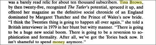 Tina Brown, The Biggest Spender
