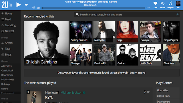 2u.fm Is a New, Free, Tag and Track Filled Music Discovery and Streaming Service