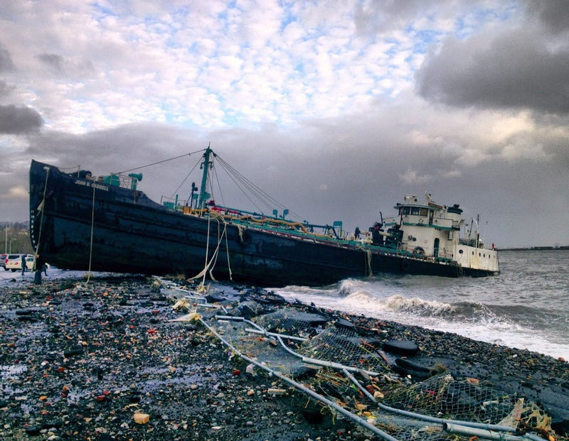 168-Foot Water Tanker Washes Up on Staten Island