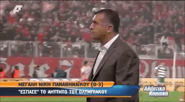 Greek Soccer Coach Takes A Cup Of Soda Right To The Face