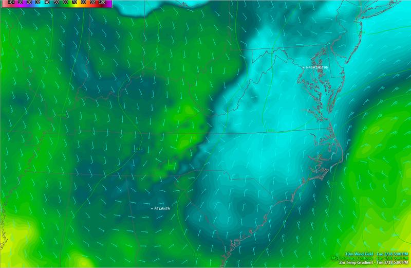 Cold Air Damming Creates Icy Mess in North Carolina