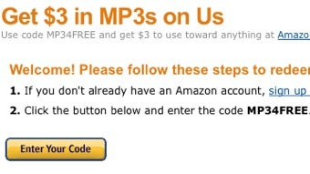 Amazon Offers Three Free MP3s of Your Choosing