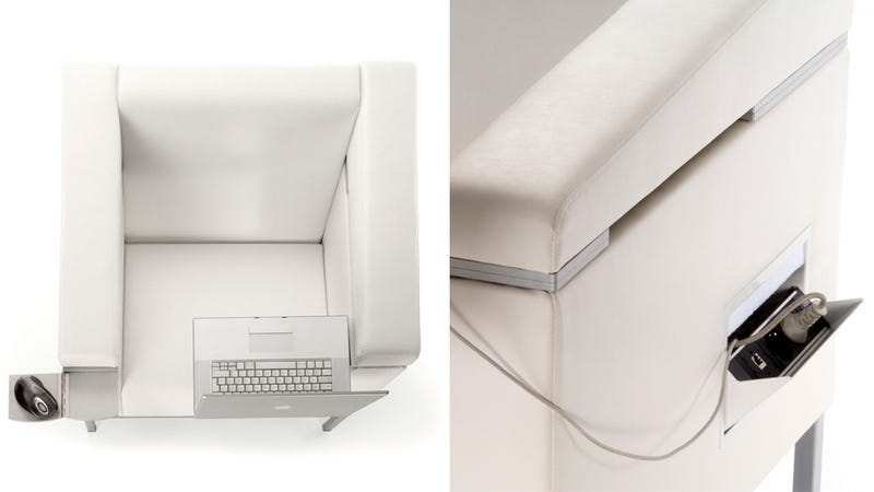 Lounge Chair Ingeniously Hides a Workspace in Its Arms