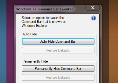 Command Bar Tweaker Removes Windows Explorer's Blue Command Bar
