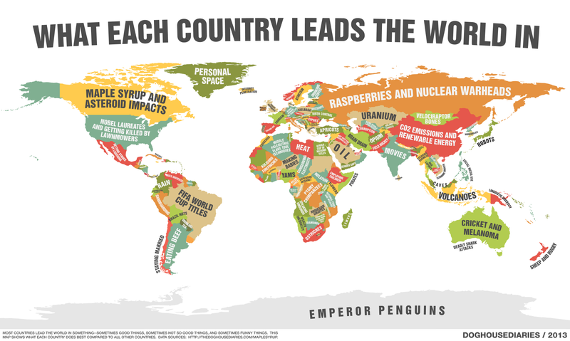 Map Lists the Surprising Things Each Country Leads the World In