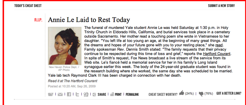 Thanks, But No Thanks: Annie Le's Funeral