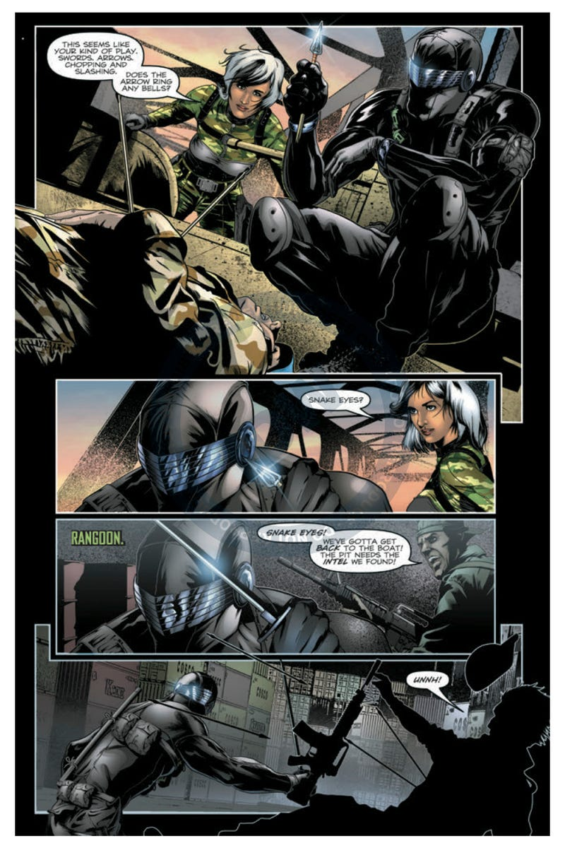 In the latest G.I. Joe comic, Snake Eyes goes to war with a zillion ninjas