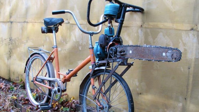Holy crap! This zombie attack bike is powered by a chainsaw