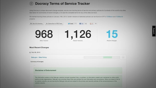 Docracy Tracks Changes In Terms of Service and Privacy Policies So You Don't Have To