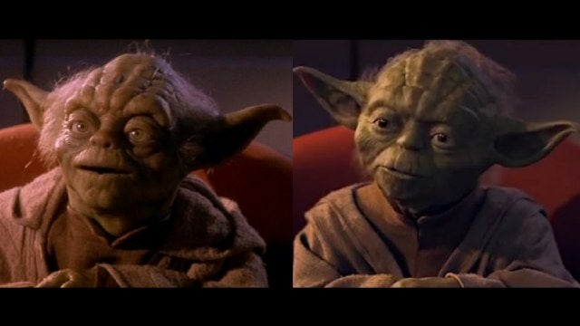 Compare the new CGI Yoda from the Blu-Ray Star Wars Episode One with the original puppet