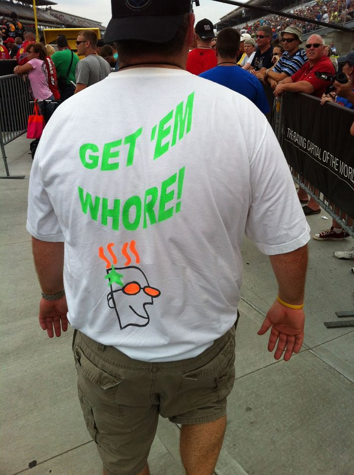 "NASCAR fan's shirt charmingly cheers Danica ""Whore"" Patrick"