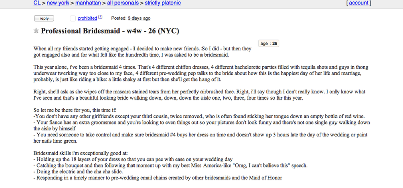 Woman Posts Ad for Herself As 'Professional Bridesmaid' On Craigslist