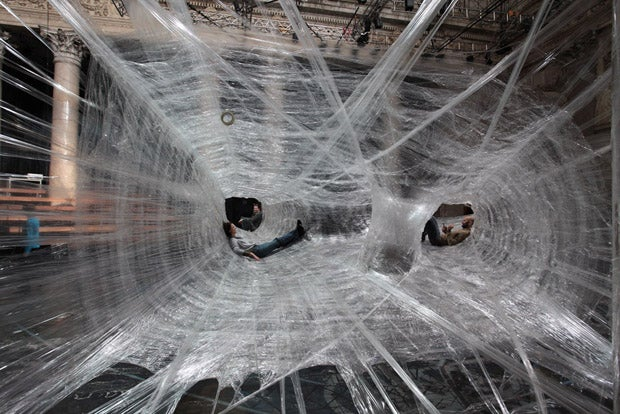 Just Chillin' In My Gigantic Packing Tape Spider Web