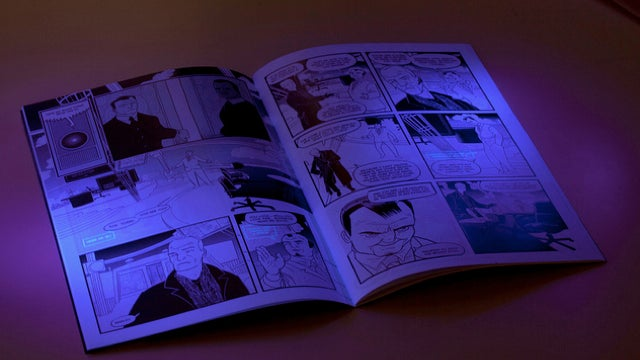 In the comic book SVK, Warren Ellis writes his dialogue in invisible ink