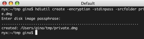 Create an encrypted disk image at the command line