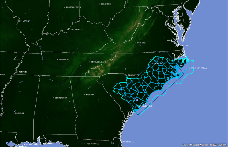Very Large Hail Possible in the Eastern Carolinas Today