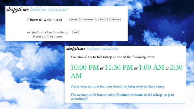 Sleepyti.me Calculates the Best Time to Go to Sleep So You Wake Up Refreshed