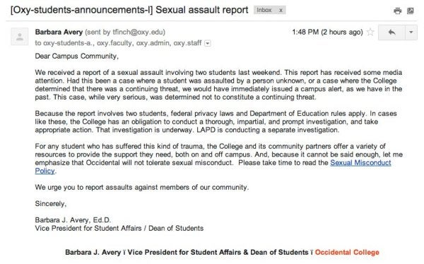 Occidental Students Say the College Has a Sexual Assault Problem