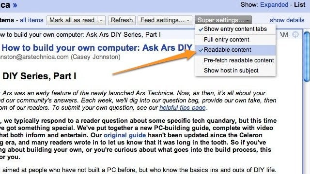 Super Google Reader Converts All Partial RSS Feeds into Full Feeds