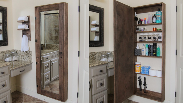 Turn a Full Length Mirror into an Attractive Bathroom Storage Unit