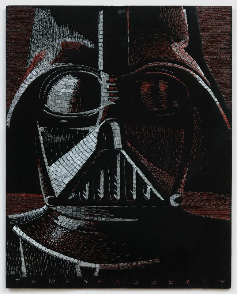 Artist creates detailed Star Wars mosaics using thousands of staples