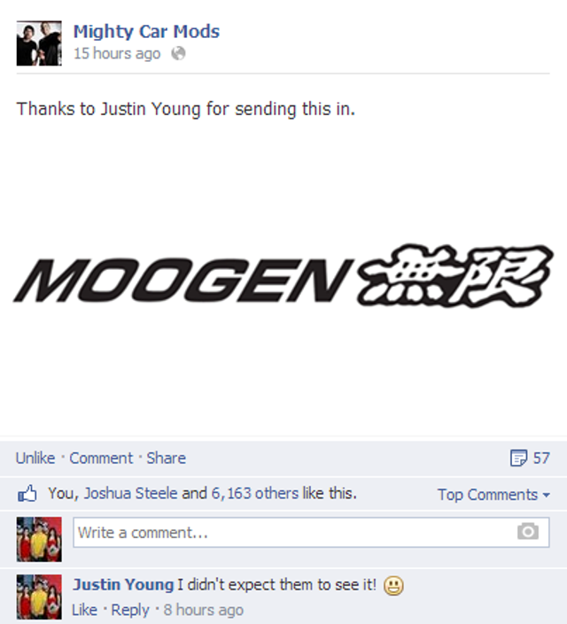 I posted this in the Mighty Car Mods' Facebook page