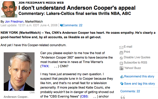 "Jon Friedman Doesn't ""Get"" Anderson Cooper"