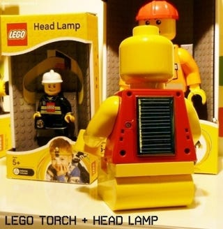 Lego Minifig Solar Flashlight Requires No AC Adapter Charging Brick
