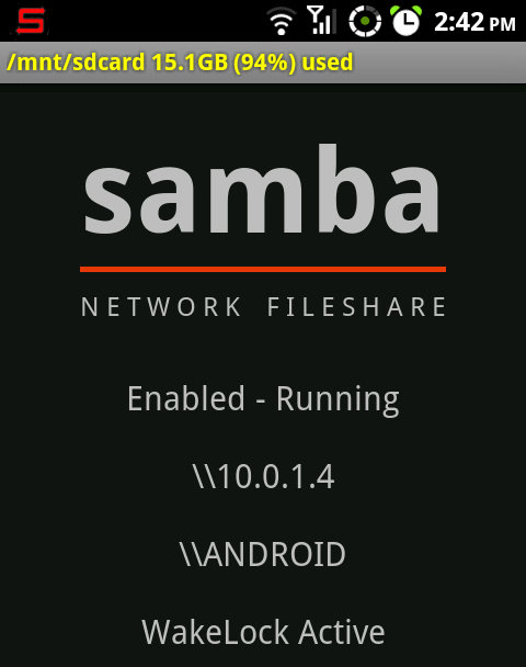 Samba Filesharing for Android Shares Your SD Card Over Wi-Fi