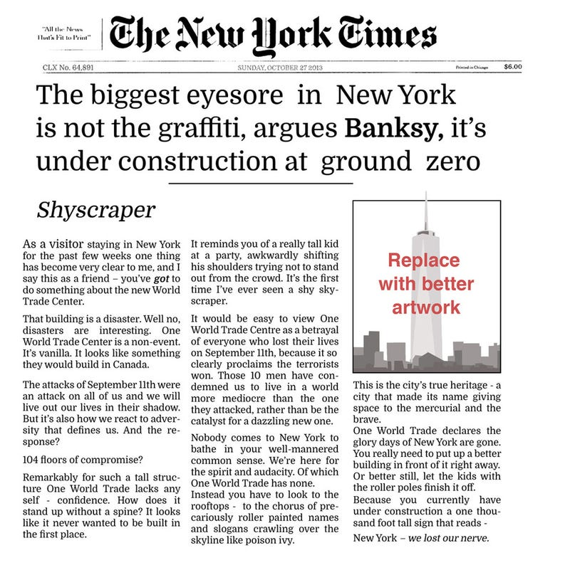 Banksy Bashes Design of World Trade Center, Claims Terrorists Have Won