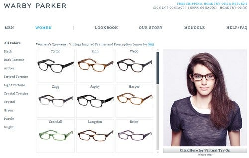 Try On New Glasses in Warby Parker's Virtual Booth