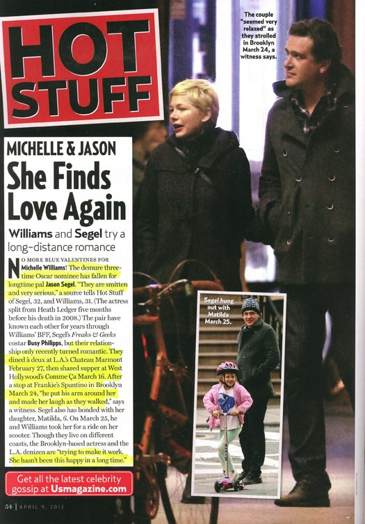 This Week In Tabloids: Adorable Michelle Williams and Adorable Jason Segel Are Most Adorable Couple Ever