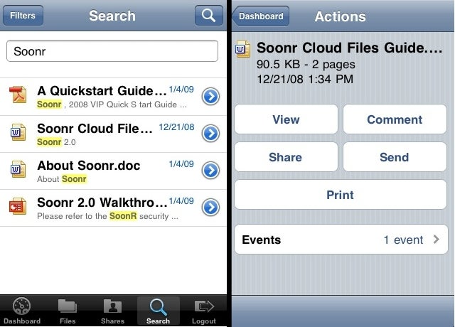 Soonr Syncs Files from Desktops to iPhones