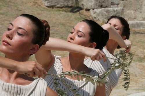 Serene Greek Priestesses Offer Up Laurels