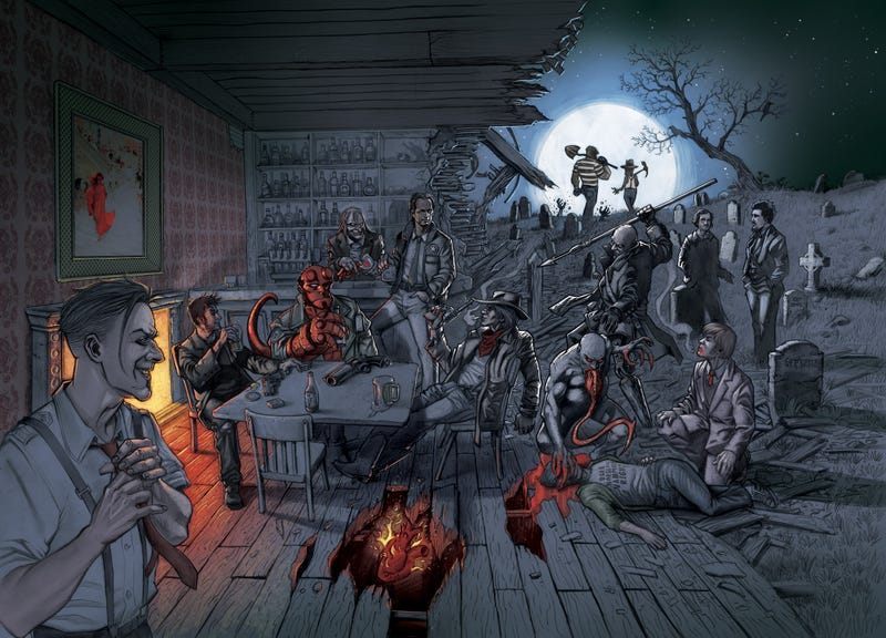 How we drew Hellboy hanging out with Edgar Allan Poe at a bar