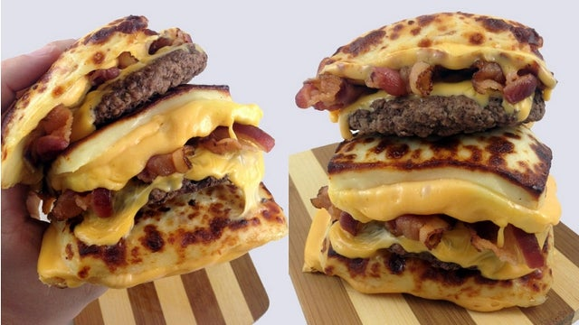 The Breadless Bacon Double Cheeseburger Does Away with Buns, Replaces Them with More Cheese
