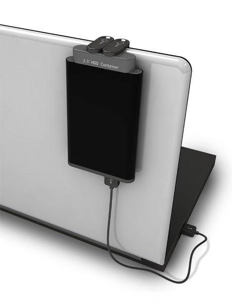 Hanging Enclosure Concept Piggybacks a Hard Drive on Your Laptop Lid
