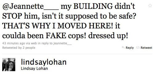 Cops Arrive At Lindsay Lohan's House; She Live Tweets It