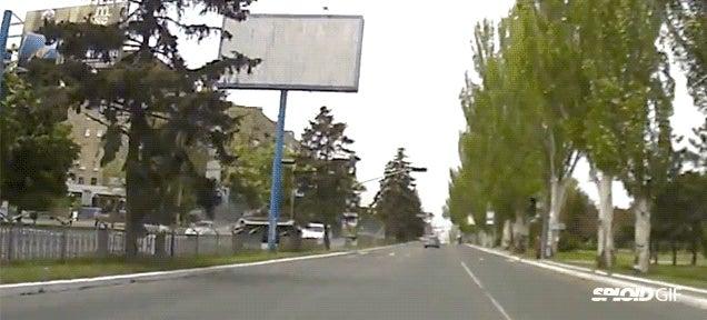 Ukrainian tank goes kamikaze on a road near Crimea