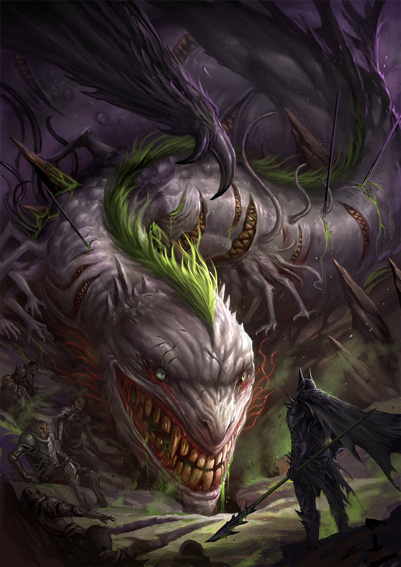 The Joker is all smiles as a nightmarish dragon facing the Dark Knight