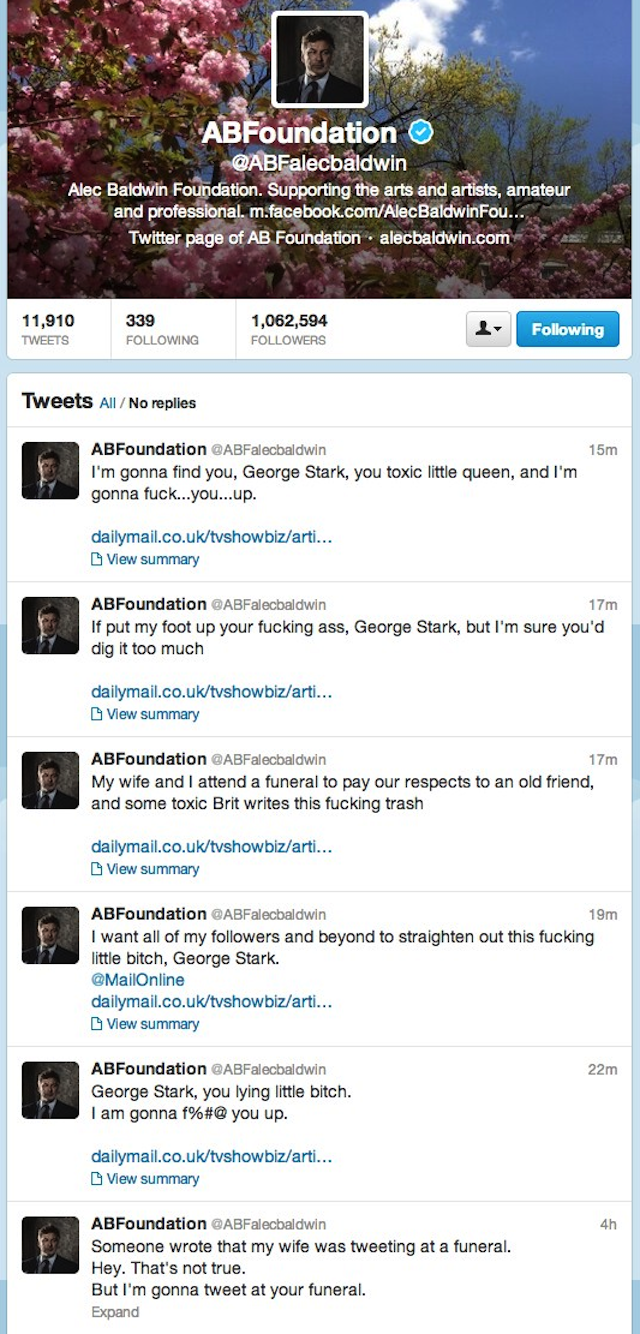 "Alec Baldwin Melts Down on Twitter, Threatens to ""Fuck Up"" Reporter"