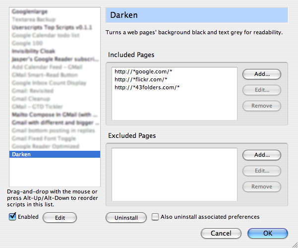 Invert web page colors with the Darken bookmarklet