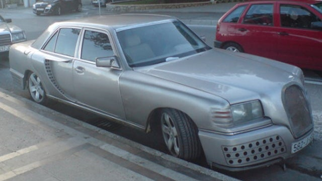 Four door Mercedes with a terrible Bugatti Veyron body kit isn't fooling anyone
