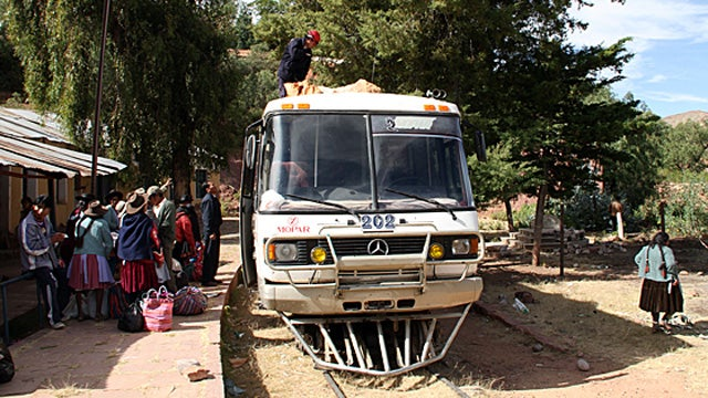 Take a scenic ride in Bolivia's bizarre Mercedes bus-train