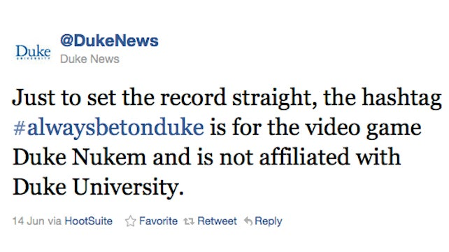 Duke Tweets The Dookiest Tweet Imaginable