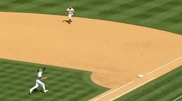 Sonny Gray Fields Liner Off First Base For The Easy Out