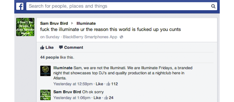Man Confuses DJ Night in Atlanta with The Illuminati, Apologizes