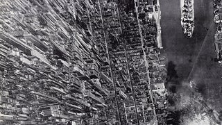Spectacular aerial view of Manhattan in 1944