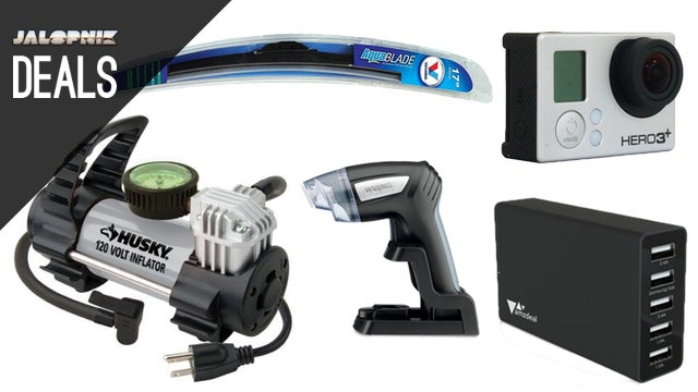 50% off Wiper Blades, Tie-Downs, Compact Tire Inflator, GoPro